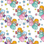 Angels Bringing Gifts Seamless Pattern
