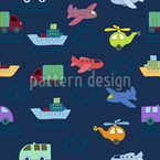 Planes And Cars Seamless Vector Pattern Design