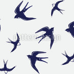 Swallows Seamless Vector Pattern Design