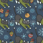 Christmas Cats in Sweaters Seamless Vector Pattern Design