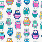 Cartoon Owls Seamless Vector Pattern Design