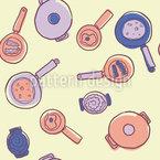 Kochtöpfe und Pfannen Nahtloses Vektormuster