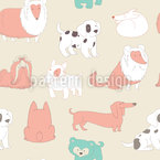 Cute Dogs Seamless Vector Pattern Design