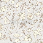 Spring Birds With Flowers Pattern Design