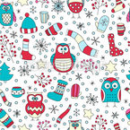 Winter Fun With Owls Vector Pattern