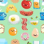 Lächelndes Frühstück Nahtloses Vektormuster