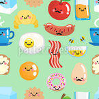 Smiling Breakfast Seamless Vector Pattern Design
