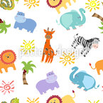 African Animals Seamless Vector Pattern Design