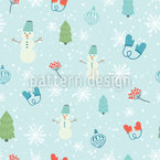 Fun In The Snow Seamless Vector Pattern Design