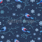 Birds In Winter Seamless Vector Pattern Design