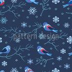Vögel Im Winter Nahtloses Vektormuster