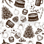 Vintage Christmas Deco Seamless Vector Pattern Design
