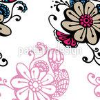 Blumenzauber Doodle Nahtloses Vektormuster
