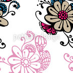 Magic Flowers Doodle Seamless Vector Pattern Design