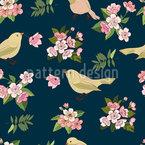 Vögel mit Blüten Nahtloses Vektormuster