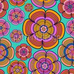 Funky Flower Power Seamless Vector Pattern Design