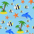 Tropical Island Seamless Vector Pattern Design
