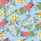 Mixed Bouquet Seamless Vector Pattern Design