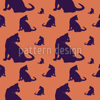 Watch Out For Cats Seamless Vector Pattern Design