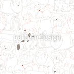 Cute Dogs Meeting Seamless Vector Pattern Design