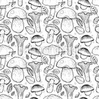 Mushrooms Seamless Vector Pattern Design