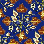 Ethno Blätter Blau Nahtloses Vektormuster