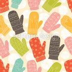 Mittens and Snowflakes Seamless Vector Pattern Design