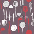 Muttis Küchenutensilien Nahtloses Vektormuster