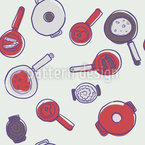 Mums Pots and Pans Seamless Vector Pattern Design