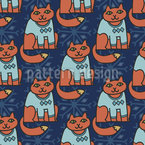 The Winter Cats Seamless Pattern