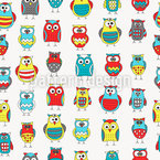 Cartoon Owl Friends Seamless Vector Pattern Design