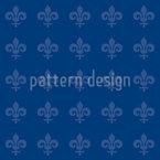 Fleur De Lis Blue Seamless Vector Pattern Design