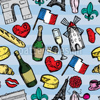 Trip To Paris Seamless Vector Pattern Design