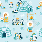 Schneeland Familie Nahtloses Vektormuster