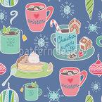 Ich Wünsch Mir Einen Weihnachtspunsch Nahtloses Vektormuster