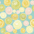 Ranunculus Flower Dots Seamless Vector Pattern Design