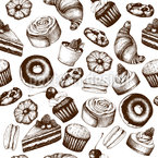 Vintage Pastry Seamless Vector Pattern Design
