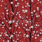 Cherry Tree Seamless Vector Pattern Design