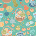 Knitting With Love Seamless Vector Pattern Design