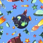 Weltraum Reisende Nahtloses Vektormuster