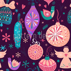 Retro Christmas Baubles Seamless Vector Pattern Design