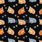 Glückliche Katzen Nahtloses Muster