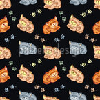 Happy Cats Seamless Vector Pattern Design