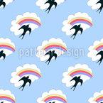 Fliegende Schwalbe und Regenbogen Musterdesign