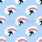 Flying Swallow and Rainbow Pattern Design