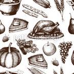 Erntedankfest Nahtloses Vektor Muster