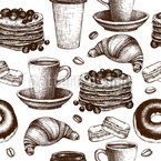 Vintage Coffee Break Seamless Vector Pattern Design