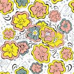 Expressive Blumen Nahtloses Vektormuster