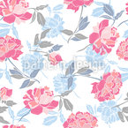 Snow Peony Seamless Vector Pattern Design