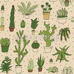 Kaktus Sammlung Nahtloses Vektormuster